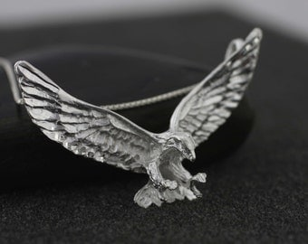 Sterling silver Eagle Necklace, Mens Necklace, Silver Eagle, American Eagle Necklace, Silver Eagle Pendant, Animal Jewelry