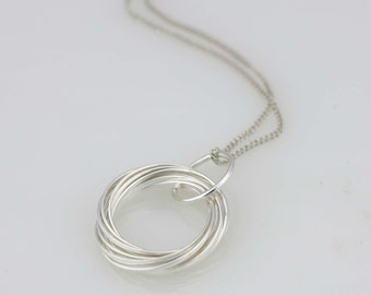 Sterling Silver Multi Circle Necklace, Silver Infinity Necklace,  Concentric Circle Necklace, Silver Circle Necklace, Circle Charm
