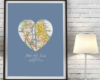 Custom Wedding Heart Maps Couples ART PRINT, Wedding gift, Heart Map, Personalized, Valentines Day, Engagement Gift, Anniversary Gift