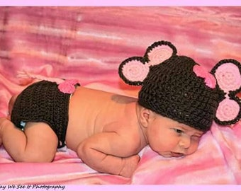 Crochet elephant outfit - Newborn elephant photo prop - crochet elephant hat - crochet elephant diaper cover - baby girl photo prop