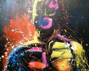 Black man painting,oil painting of Black man,Black man painting by Kampon
