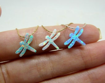 Dragonfly necklace, Opal dragonfly necklace, Dragonfly jewelry, Insect jewelry, Blue dragonfly, Kids necklace
