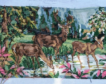 Tapestry deer, canvas, tapestry, crosstitch and embroidery