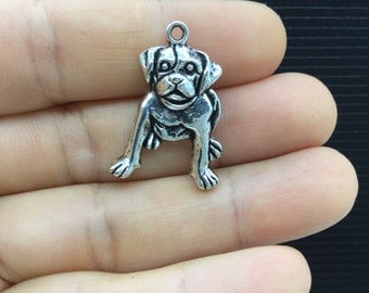 6pcs  Beagle Dog Tibetan Silver Charm 18x26mm