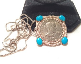 Vintage 925 sterling sliver pendant necklace with turquoise and Susan B. Anthony dollar coin