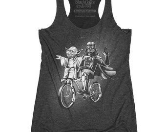 Yoda Shirt - Womens Star Wars Shirt -Darth Vader and Yoda Riding a Bike Hand Screen printed on a Womens TANK TOP