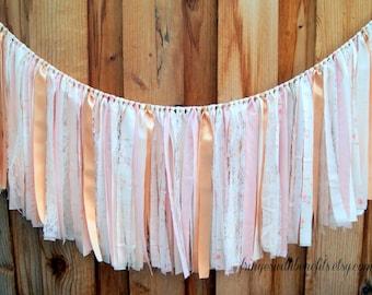 Pink & Gold Shabby Chic Fabric RAG TIE GARLAND, Fabric Banner, Wedding, Baby Shower, Nursery, First Birthday, Boho, Brambleberry