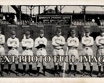 "1914 Brooklyn Dodgers Baseball Team Vintage Panoramic Photograph 7"" x 33"" Long"