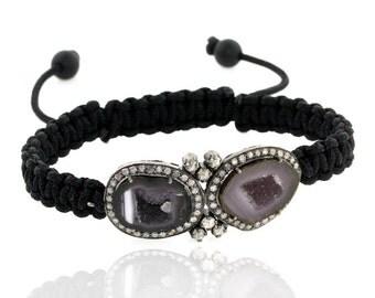 Handmade Macrame' Diamond and Geode Bracelet