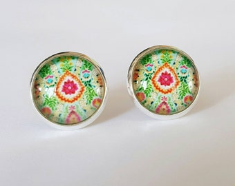 Floral Glass Cabochon stud earrings