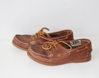 Brand TEN POINTS Brown  Leather Boat Moccasins Shoes Leather Loafers Shoes Size Eu 36 Us 6.5