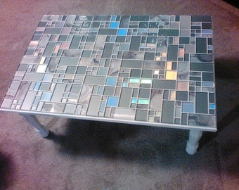 Glass mosaic opalescent coffee table
