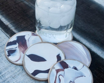 Brown & White Clay Coasters - Set of 5