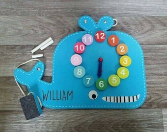 Clock and Chalkboard Whale Toy - 00073