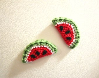 Watermelon Fridge Magnets - Crochet Watermelons - Handmade Kitchen Magnets