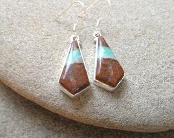 925 Sterling silver earrings/ Boulder Chrysoprase gemstone earrings