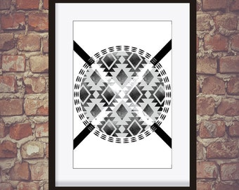 Tribal Pattern Black and White Wall decor