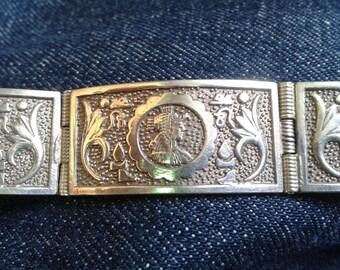 Vintage Silver Egyptian Revival Cuff Panel Bracelet