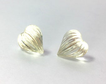 Vintage hearts earrings art deco glass studs sterling silver clear love wedding bride bridal bridesmaid gift mom surgical steel