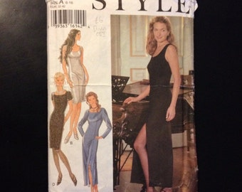 SALE WAS 6 Dress Pattern 90s Style 2537 Size 6-16 Bust 32-42. Sleeveless, Short Sleeved or Long Sleeved Evening Gown