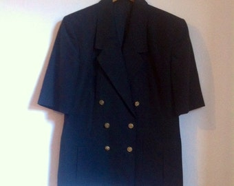 """SALE WAS 24 1980s Black Double Breasted, Short Sleeved Country Casuals Jacket. Front Pockets and Gold Buttons. Size 12 Bust 40"""""""