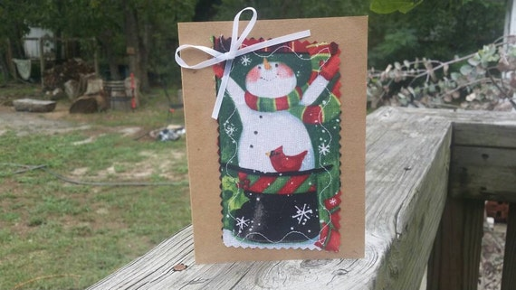Handmade Christmas Cards / Fabric Scrap Christmas Cards/ Handmade Holiday Cards/ Handmade Greeting Cards/ Blank Christmas Card/ Snowman Card