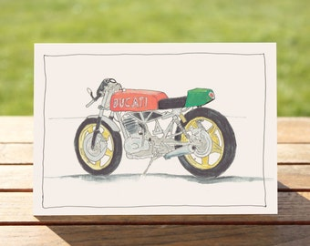 "Motorcycle Gift Card | Ducati Cafe racer | A6 Measures: 6"" x 4"" / 103mm x 147mm 