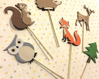 Woodland Party Decorations, Forest Animals Cupcake Toppers, Food Picks, Woodland Animals, Fox, Deer, Squirrel, Owl, Tree, Woodland, hedgehog