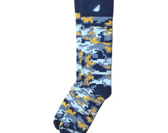 "Digital Camo Men's Dress / Casual Socks - Navy & Gold Digicamo / Camouflage - ""Ranger"" Christmas Holiday Gift Stocking Stuffer"