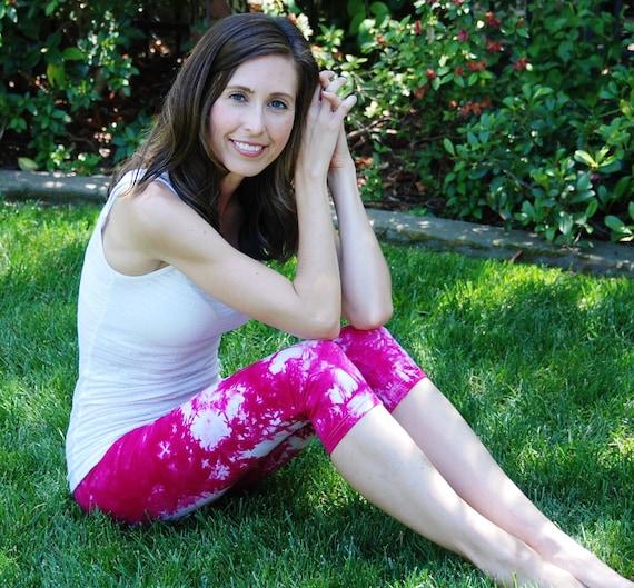Raspberry Popsicle Pink Tie Dye Crop Yoga Leggings by Splash Dye Activewear (Choose your own length)