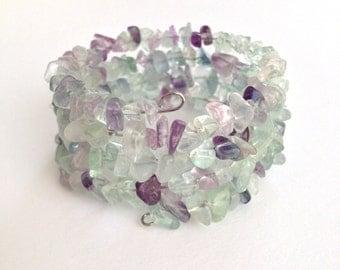 Rainbow Fluorite Bracelet, Memory Wire Coil, One Size Fits All, Bracelets For Women