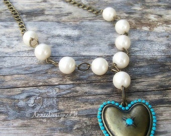 Be Still My Heart  ,Necklace and Earrings