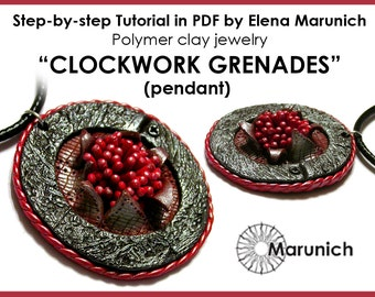 "Polymer clay tutorial ""CLOCKWORK GRENADES - pendant"" PDF"