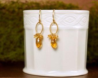 Citrine Earrings, November Birthstone, Handmade Earrings