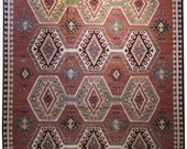 8x10 Dhurri rug, tribal rug, area rug 8x10, flatweave rug, flat weave rug,  flatly woven rug, geometric rug, kilim rug, mainstreetrugs