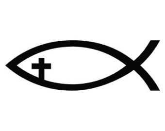 Jesus Fish With Cross Decal