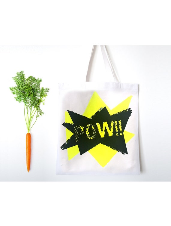 POW!! hand-painted Tote Bag with imprinted design, canvas grocery bag