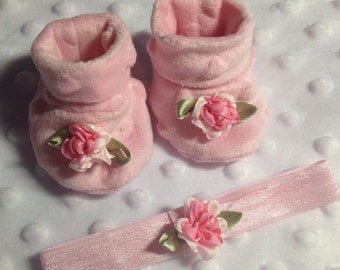 American Girl Bitty Baby clothes (Pink Booties and Headband)