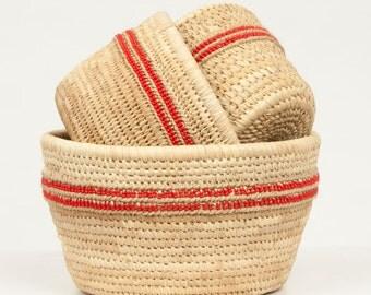 NYEKUNDU: White Beaded Duom Palm Leaf Baskets
