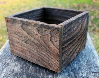 "Square Rustic Farm Planters Box (5"" - 5.75""H - Tall Version), Centerpiece, Wooden Box, Herb Box, Primitive Box, Garden, Storage, Succulent"
