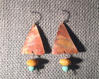 Flame Painted Copper Earrings