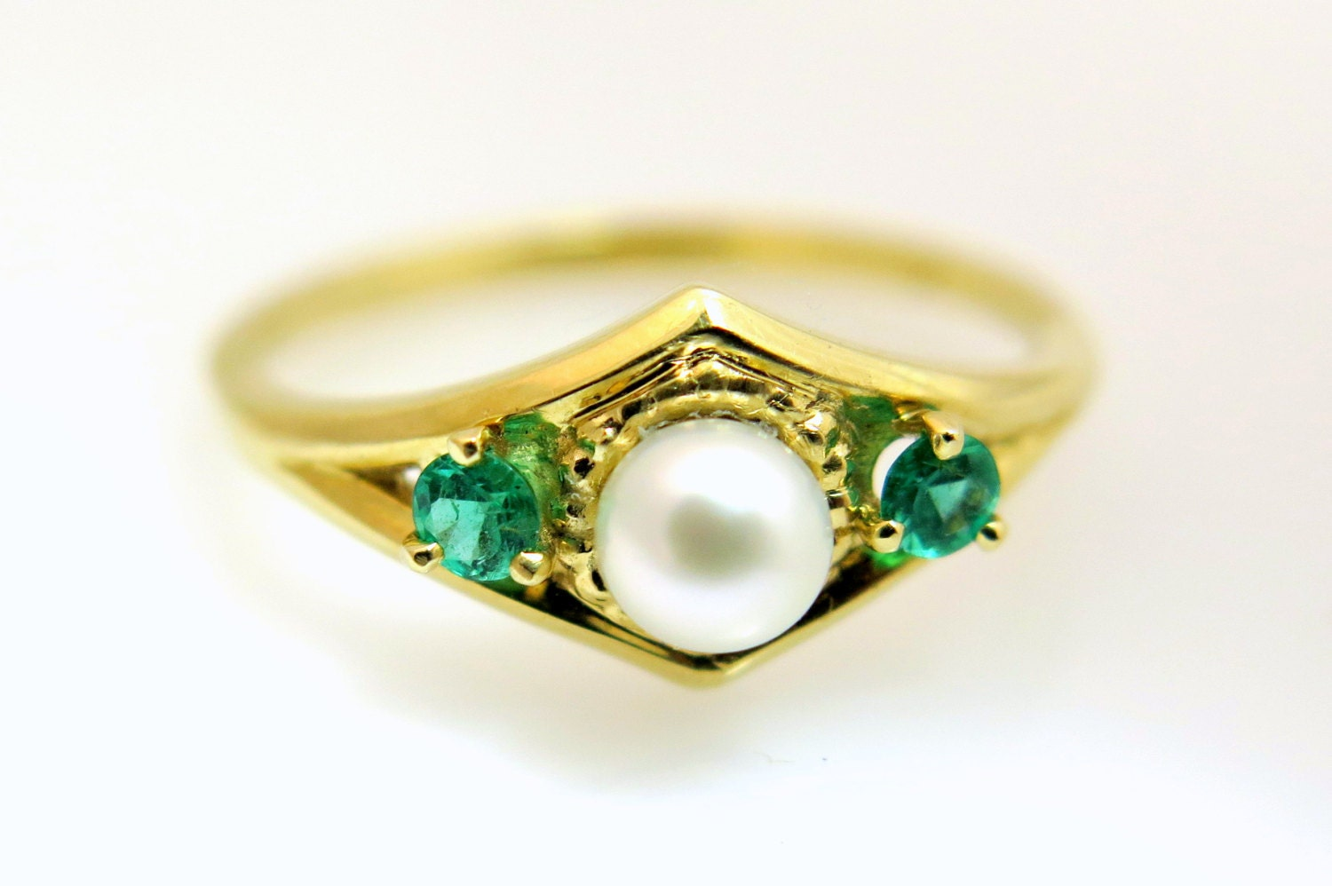 pearl ring gold emerald engagement ring pearl engagement