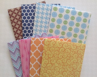 Patterned envelopes, square colourful envelopes, planner accessories, green blue purple pink yellow, snail mail, bright colours , set of 8