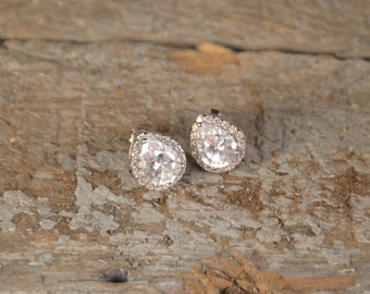 Sterling Pear Crystal Studs.