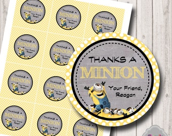 PERSONALIZED - Thanks a Minion...Printable Tags- HT014 - thank you tags, cupcake toppers, gift tags