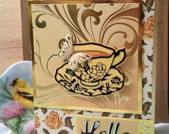 Butterfly and Tea Cup Hello Card