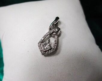 14K WHITE Gold Diamond Pendant, princess cut