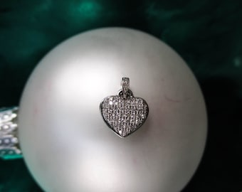 14K WHITE Gold Pave Diamond Heart Pendant