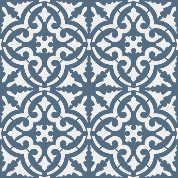 Reusable stencil moroccan style tile allover pattern sku for Carrelage 8x8