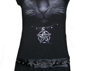 Stud Waist Mini Dress Top BLACK CAT Goth